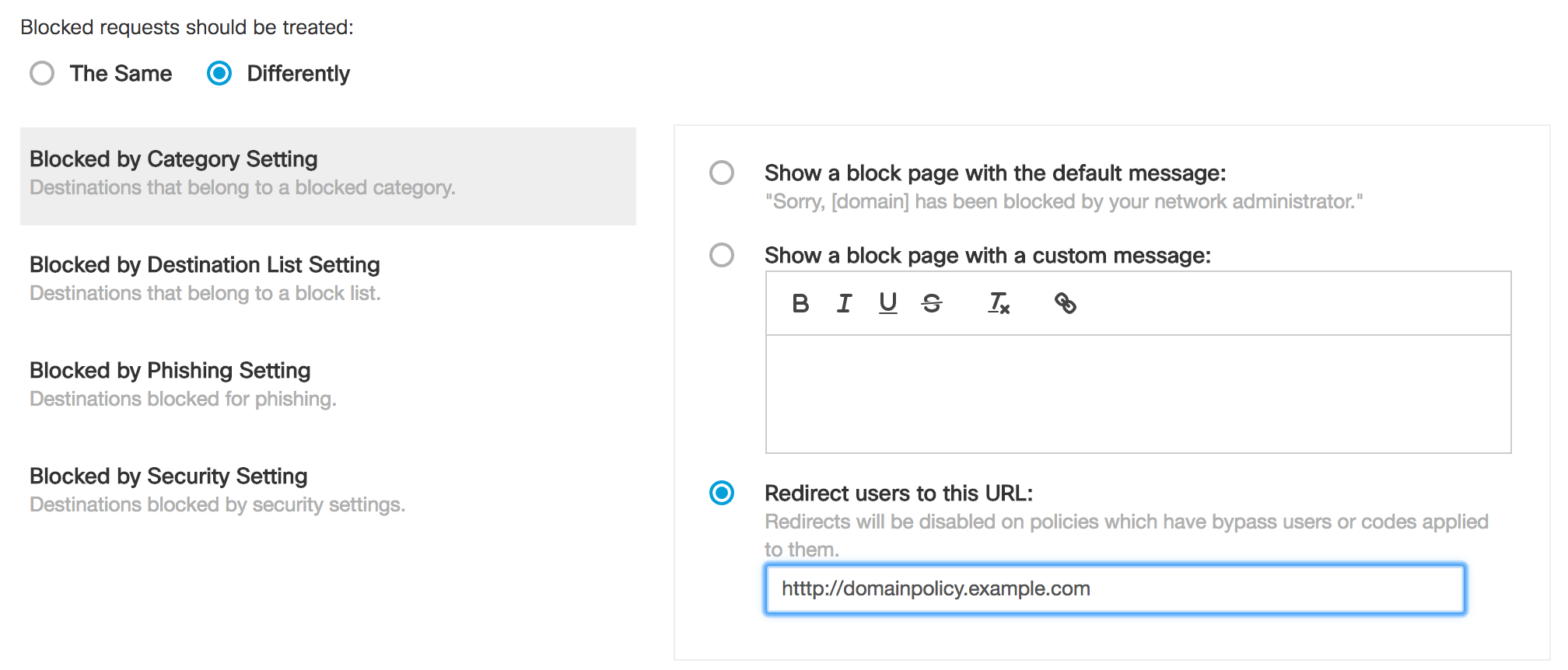 Setting up a Block Page, a Block Page Bypass User and a