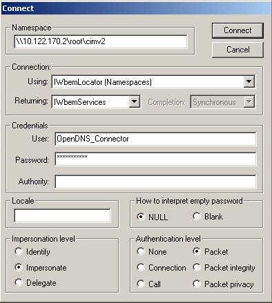 Testing WMI Connectivity with WBEMTest – Cisco Umbrella
